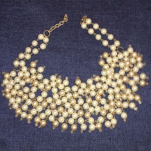 Pearl and crystal statement necklace